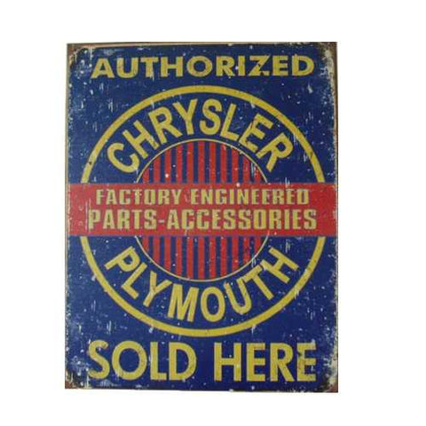 Chrysler Plymouth Parts Tin Sign