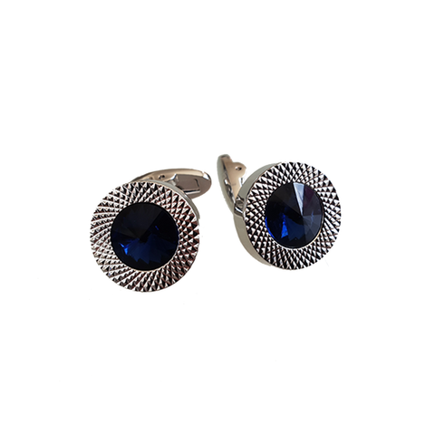 Chrome and Blue Stone Cufflinks