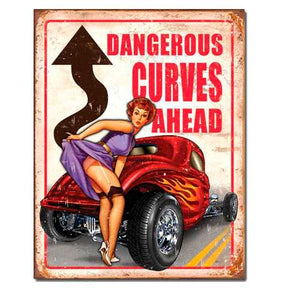 Dangerous Curves Tin Sign