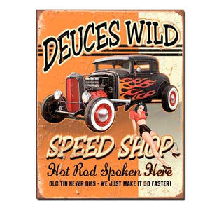 Deuces Wild Tin Sign