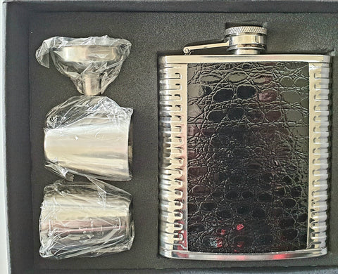 Black and Stainless 7oz Hipflask Gift Set
