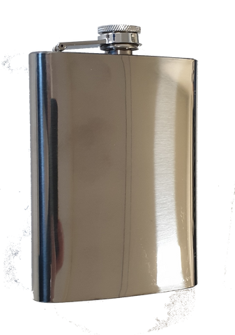 Polished Stainless Steel Hip Flask - 8 oz