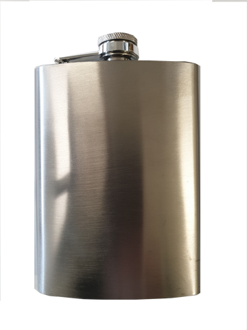 Brushed Finish Stainless Steel Hip Flask - 8 oz