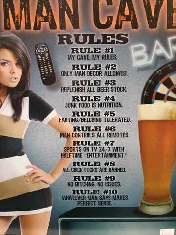 Mancave Rules - Tin sign