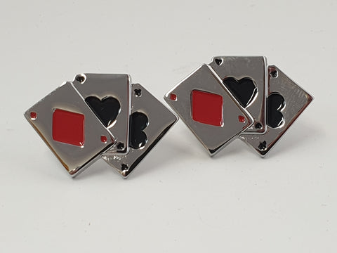 Playing Card Cufflinks in Chrome