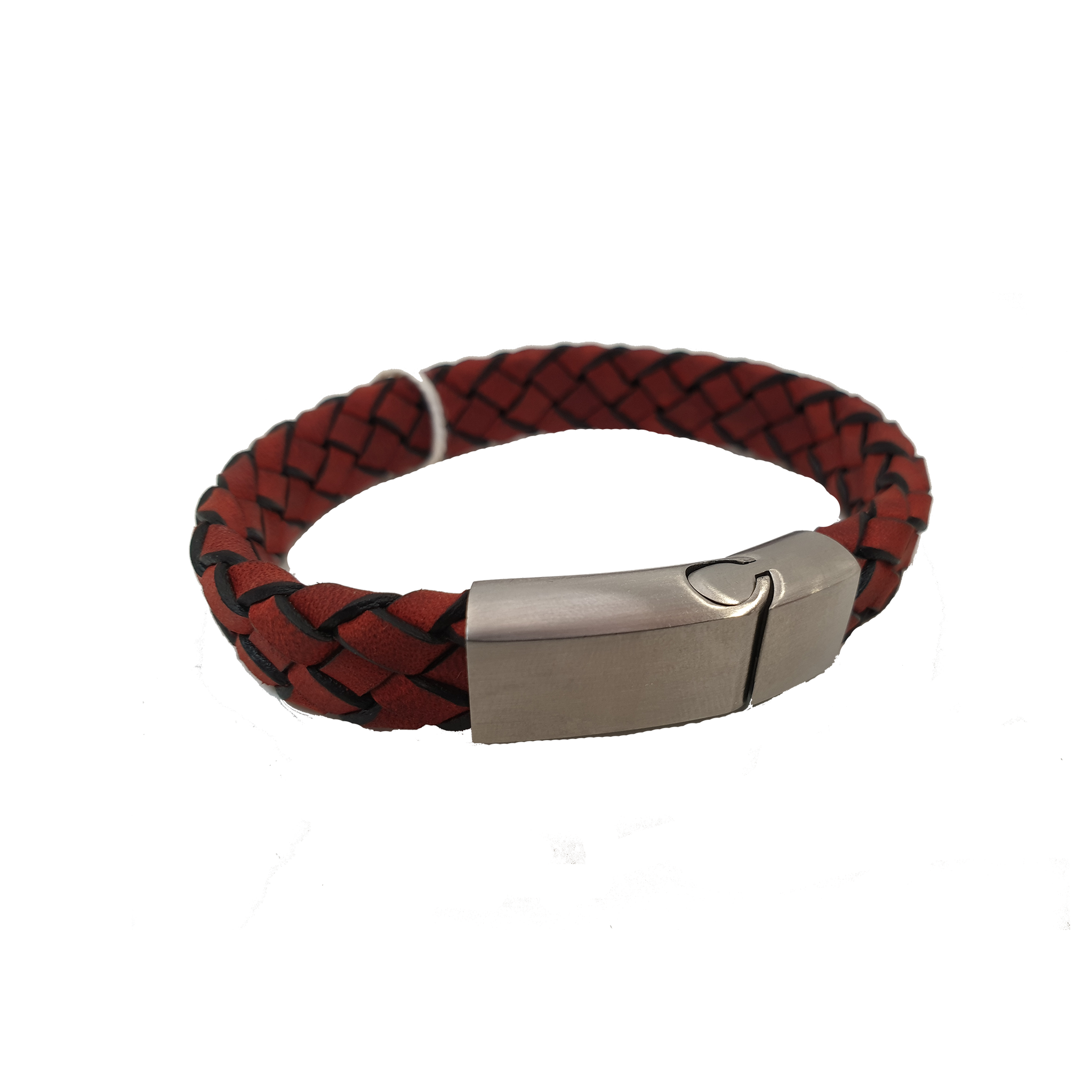 Cudworth Stainless Steel Red Leather Bracelet