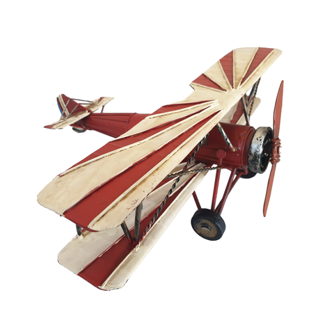 Red & White Tin Biplane