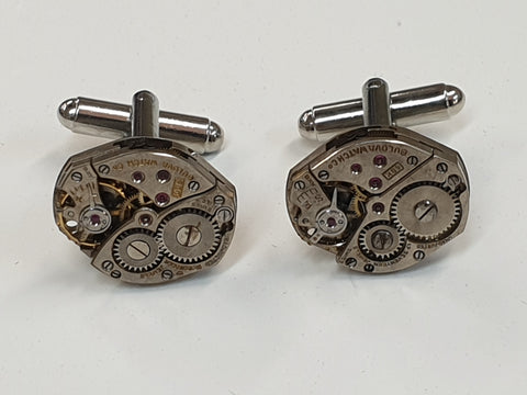 Silver Toned Steam Punk Watch Movement Cufflinks