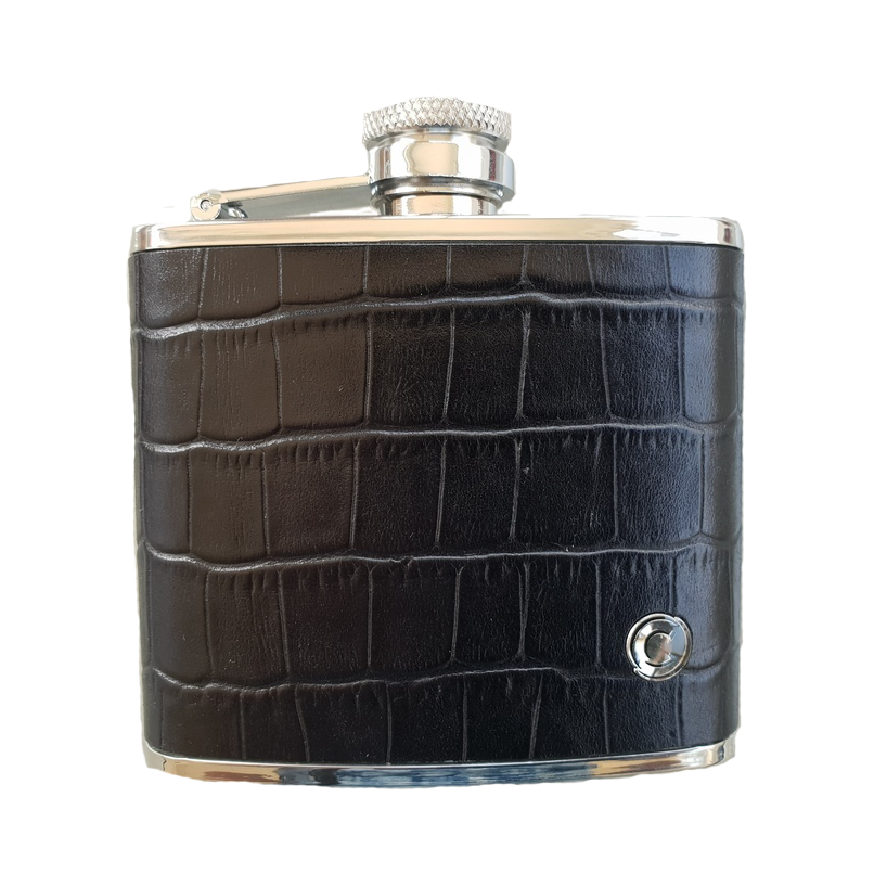 UNILUX 4oz Stainless & Leather Hip Flask