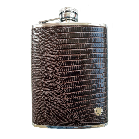 UNILUX 8oz Stainless & Leather Hip Flask