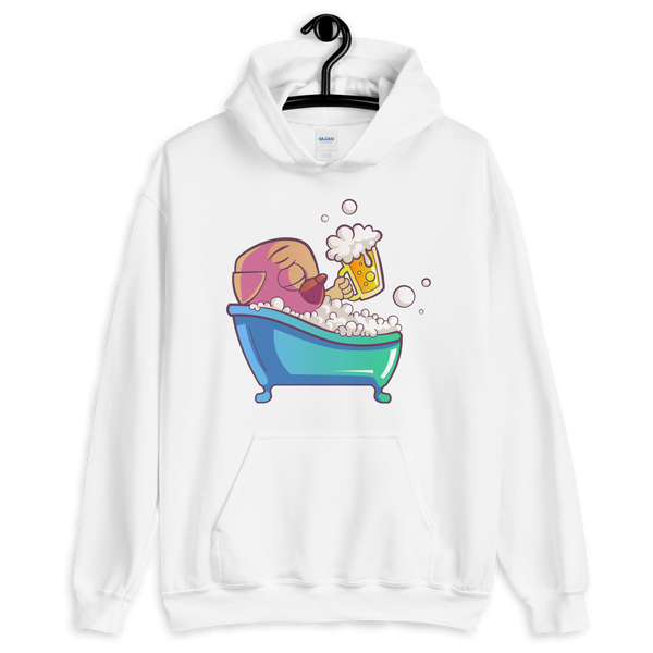 Bug dog with beer in shower premium Unisex Hoodie