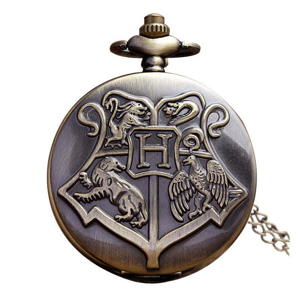 DEFFRUN Vintage Harry Potter Hogwarts Animals Pocket Watch