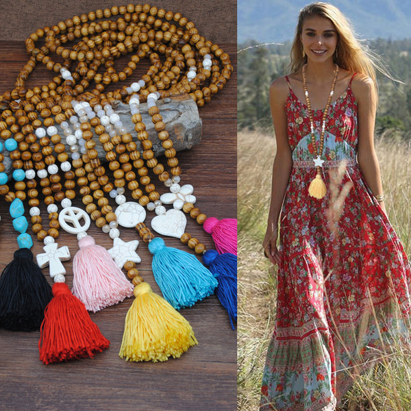 Bohemian Wooden Beads Tassel Necklace Geometric Heart Star Butterfly Turquoise Pendant Long Necklace #04