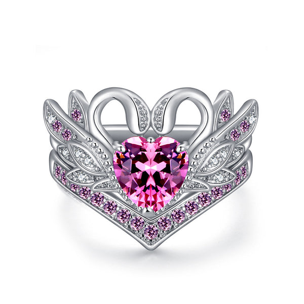 2 Pcs/set Sweet Swan Heart Zirconia Engagement Wedding Rings  Pink/7