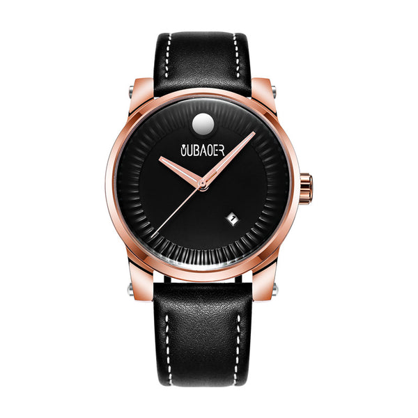 OUBAOER OB2020B Fashionable Date Display Men Wrist Watch Leather Strap Ultra Thin Quartz Watch NO.3