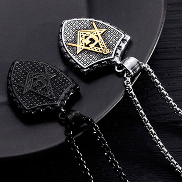 Pendant Necklace Geometric Shield Stainless Steel Chain Black