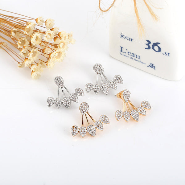 Trendy Flower Earrings Gold Silver Full Rhinestones Ear Stud Gift for Women  Rose Gold