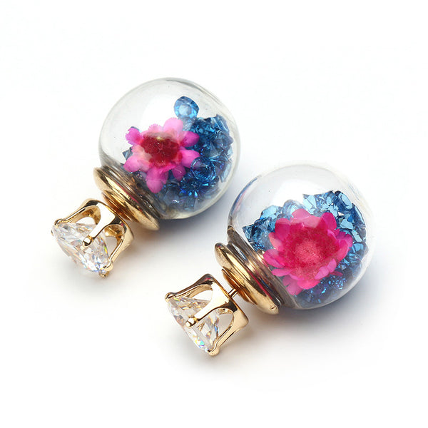 Trendy Colorful Crystal Glass Ball Flower Round Earrings  Pink/925 Sterling Silver