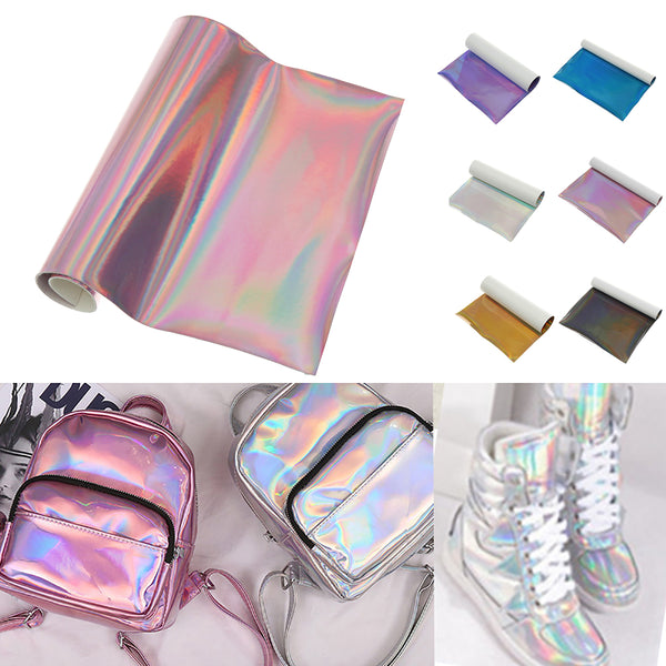 6Pcs Fine Glitter Mermaid Printed Faux Leather Sheet Synthetic Glitter Leather Craft Fabric Tool Pink