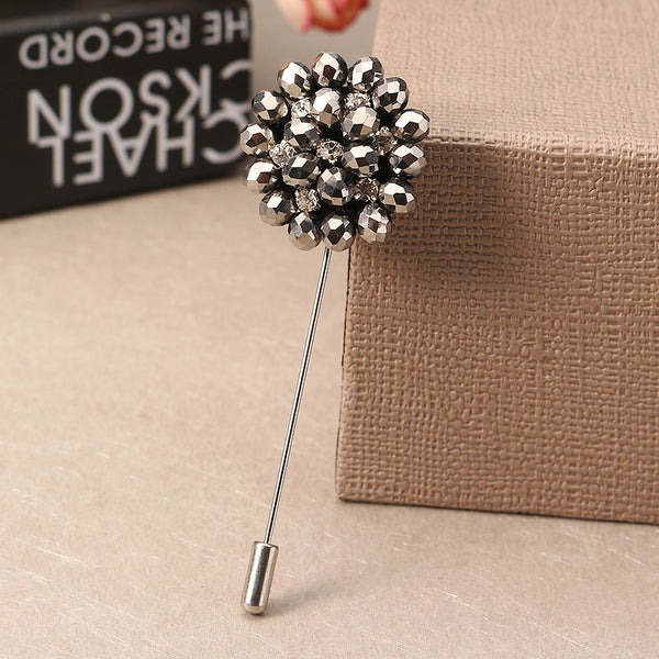 Exquisite Multicolor Flower Brooch Simple Style Beaded Floral Lapel Pin Unisex Clothing Accessories 01