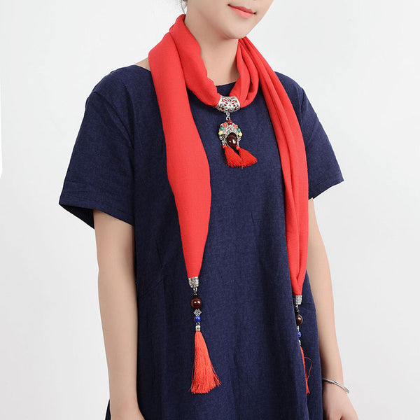 Ethnic Multifunction Women Necklace Tassel Pendant Vintage Cotton Scarf Clothing Accessories Gift Dark Blue