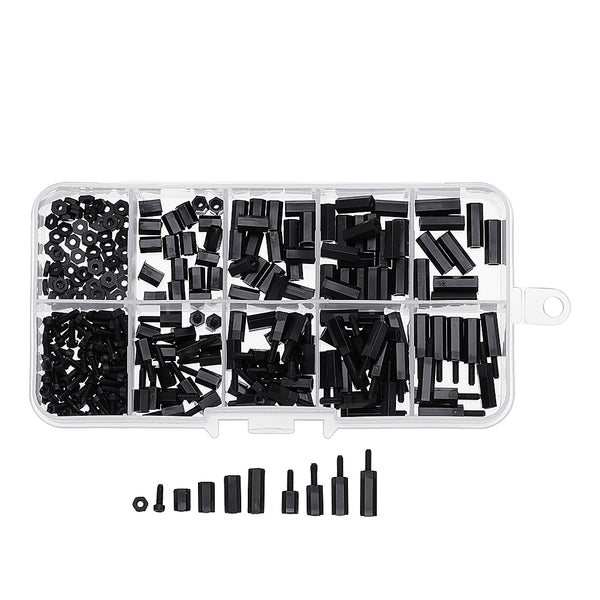 Suleve™ M2NH4 M2 Nylon Screw Black Hex Screw Nut Nylon PCB Standoff Assortment Kit 300Pcs