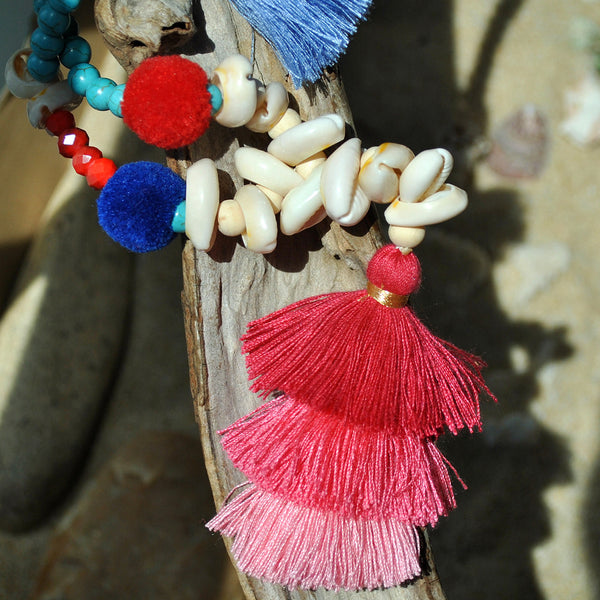 Gradient Colorful Tassel Handmade Beaded Necklace Shell Turquoise White Wooden Beads Long Necklace #01
