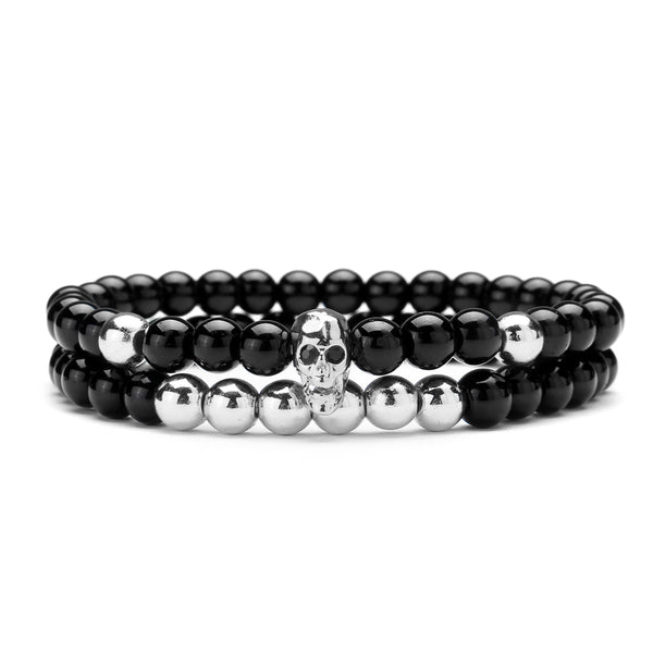 Fashion Men's 6mm Black Onyx Bead Skeleton Skull Head Beaded Silver