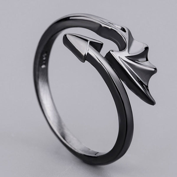 Vintage Open Couple Ring Retro Angels Demons Adjustable Ring Black