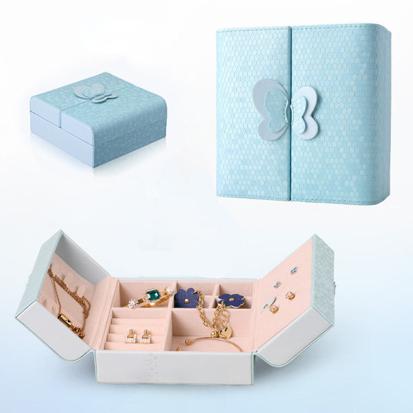 3 Colors Bow Jewelry Storage Box Ring Earrings Necklace Case Blue
