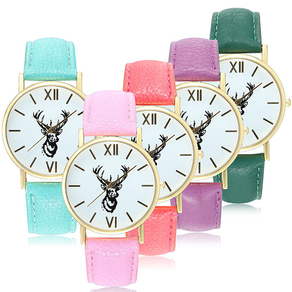 Cute Lovely Deer Pattern PU Leather Band Analog Quartz Women Wrist Watch Watermelon Red