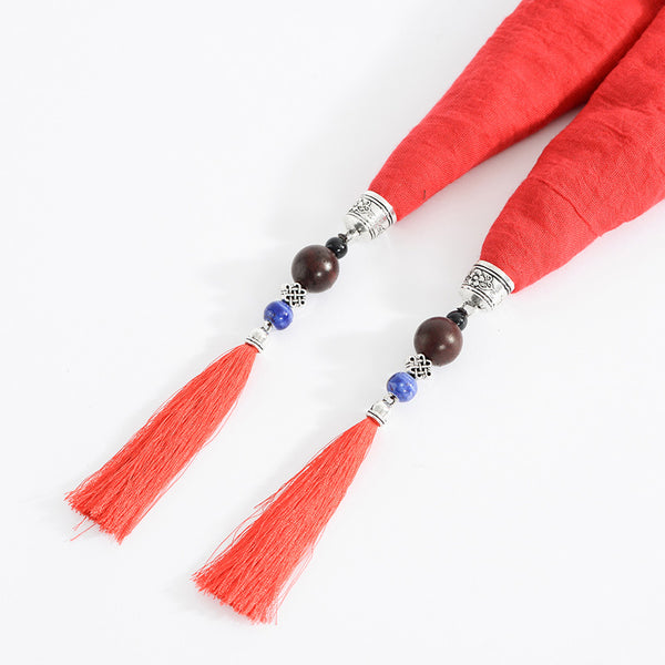 Ethnic Multifunction Women Necklace Tassel Pendant Vintage Cotton Scarf Clothing Accessories Gift Cyan