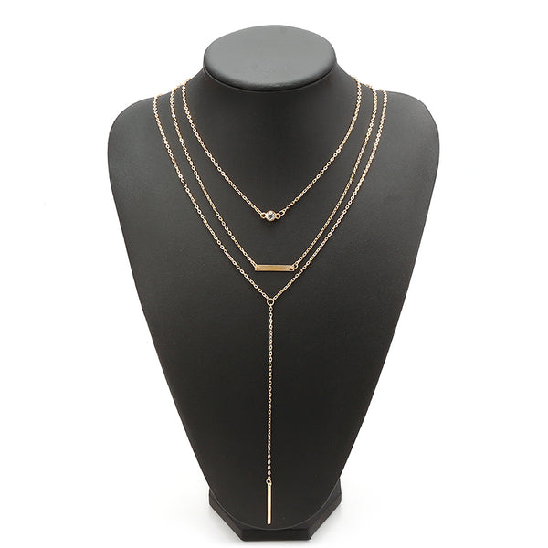 Elegant Crystal Zinc Alloy Necklace Simple Multilayer Chain for Women Gold