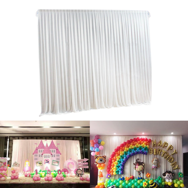 2M X 2M White Stage Background Backdrop Drape Curtain Swags Wedding Party  US