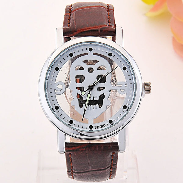 Hollow-out Skull Real Belt Quartz Watch NO.1