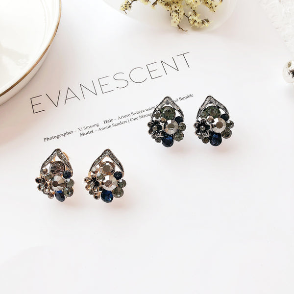 S925 Needle Vintage Earrings Antique Silver Stud Earring Gold