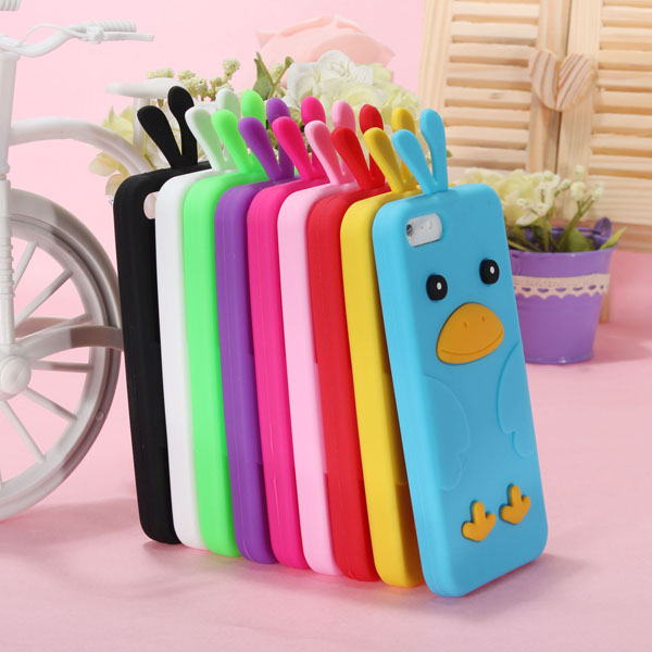 Colorful Cute Lovely Chick Shaped Soft Silicone Case For iPhone 5 Black