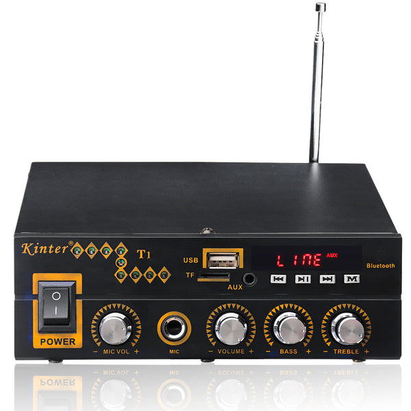 Kinter T1 2X25W Digital bluetooth Stereo Amplifier Support TF FM USB Microphone EU 12V/220V
