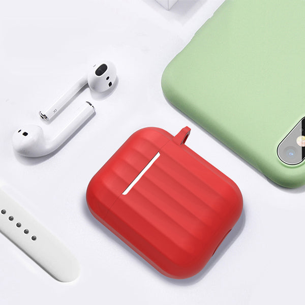 Dirose Portable Shockproof Dirtproof Silicone Wireless bluetooth Earphone Storage Case with Anti-lost Rope & Keychain for Apple Airpods 1/2