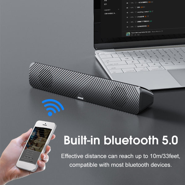 SADA V-108 Computer bluetooth 5.0 Sound Bar HiFi Stereo USB Powered Multimedia Speaker Office Home Speaker