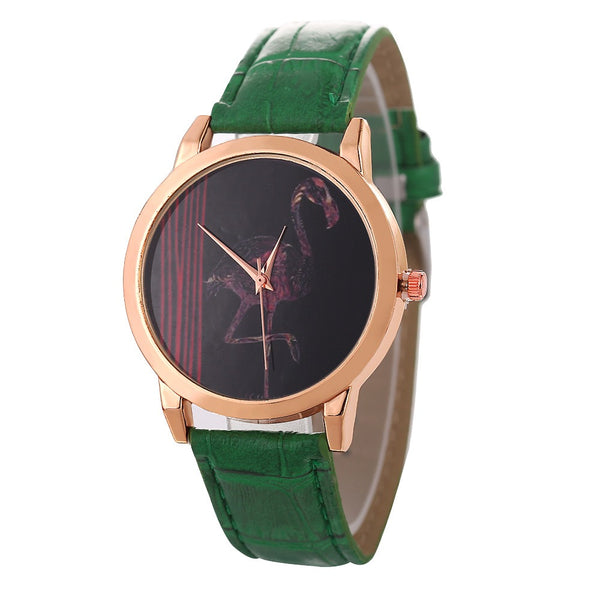 Red-crowned Crane Leather Strap Men Quartz Watch Green