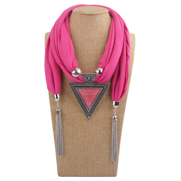 Bohemian Metal Geometric Triangle Resin Pendant Scarf Necklace Metal Chain Tassel Multi-layer Necklace Black