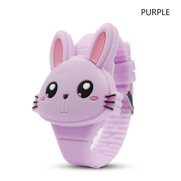 Deffrun Flip Cover Cartoon LED Display Student Kid Watch Purple