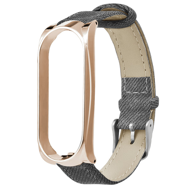 Bakeey Metal Case Leather Strap Watch Band Replacement Watch Strap for Xiaomi Mi band 3