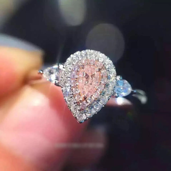 Luxury Diamonds Wedding Ring Elegant Zircon Engagement Ring  Pink/7