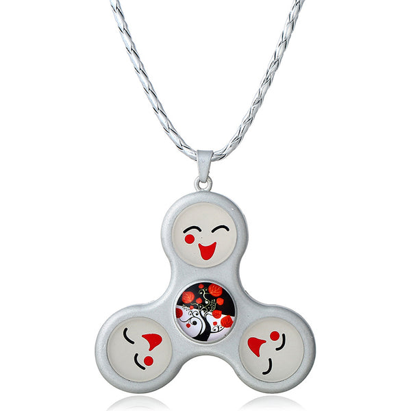 Unisex Fidget Spinner Smile Face Trinity Necklace Pendant Necklace for Men Women Silver