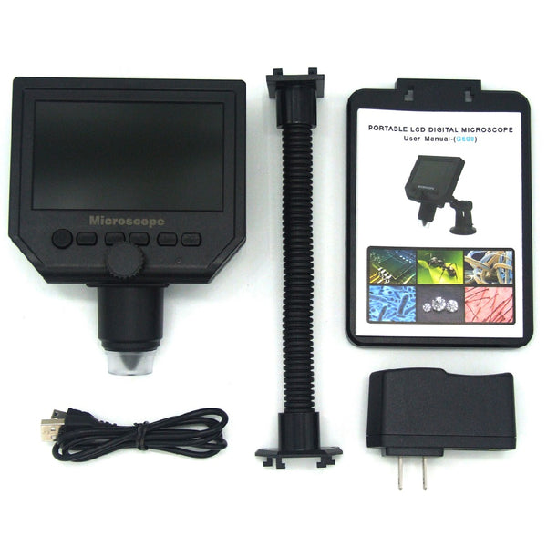 G600 600X Electronic USB Microscope Digital Soldering Video Microscope Camera 4.3 Inch LCD M