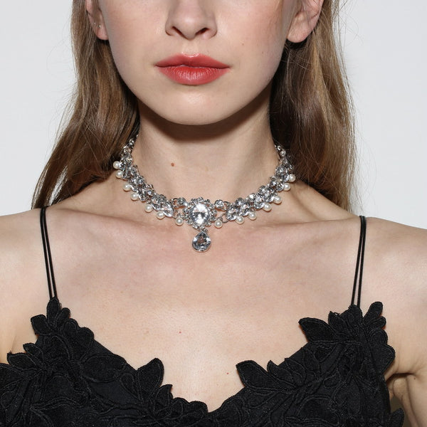 Trendy Crystal Drop Artificial Pearl Choker Women Necklace  Silver