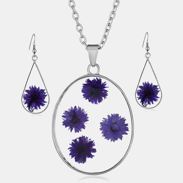 Vintage Natural Dried Flower Necklace Earring Set Resin Daisy Necklace Geometric Water Drop Earrings Purple