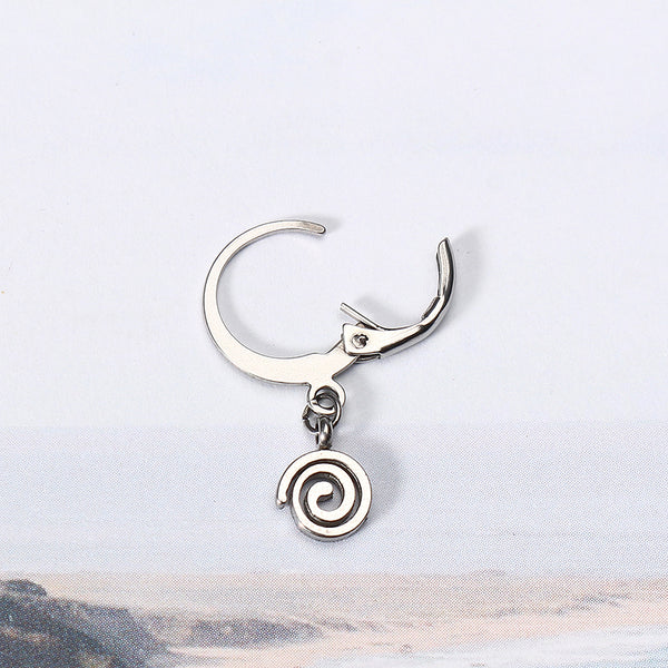 1 Piece Titanium Steel Hoop Earrings Cool 316L Stainless Steel Spiral Circle Pendant Unisex Jewelry Silver